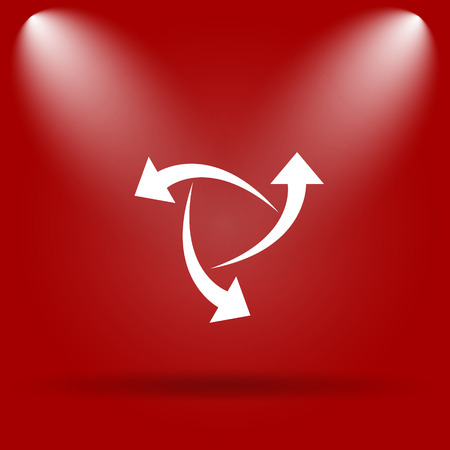 succes: Change icon. Flat icon on red background. Stock Photo