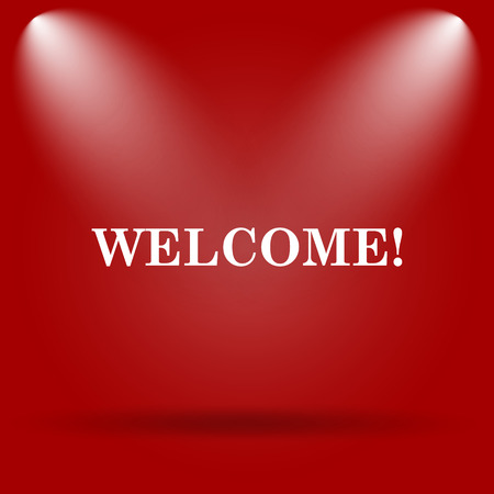 bill board: Welcome icon. Flat icon on red background. Stock Photo