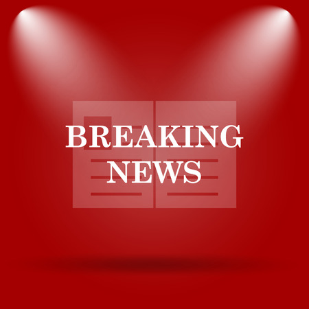 actual: Breaking news icon. Flat icon on red background. Stock Photo