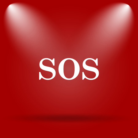 SOS icon. Flat icon on red background.