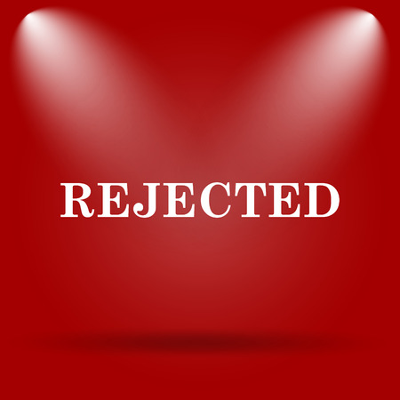 rejected: Rejected icon. Flat icon on red background. Stock Photo