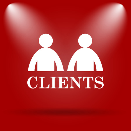 consumer society: Clients icon. Flat icon on red background. Stock Photo