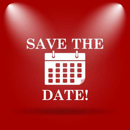 Save the date icon. Flat icon on red background. photo