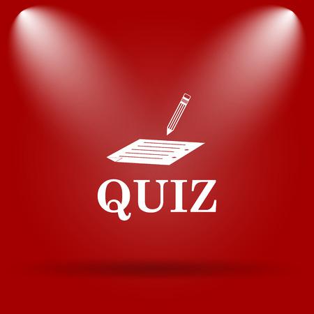 quiz: Quiz icon. Flat icon on red background. Stock Photo