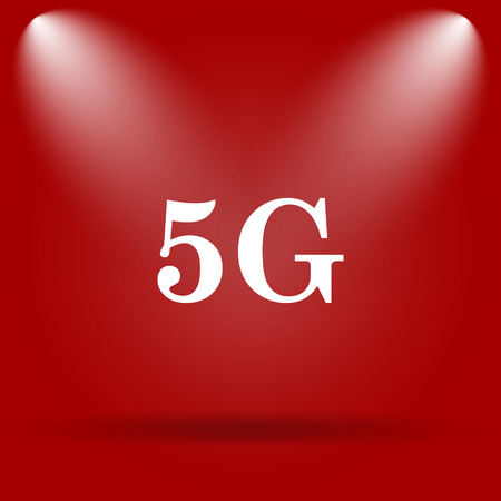 5g: 5G icon. Flat icon on red background.