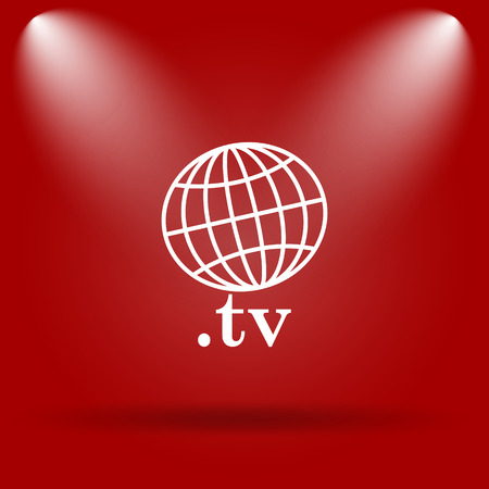 .tv icon. Flat icon on red background. photo