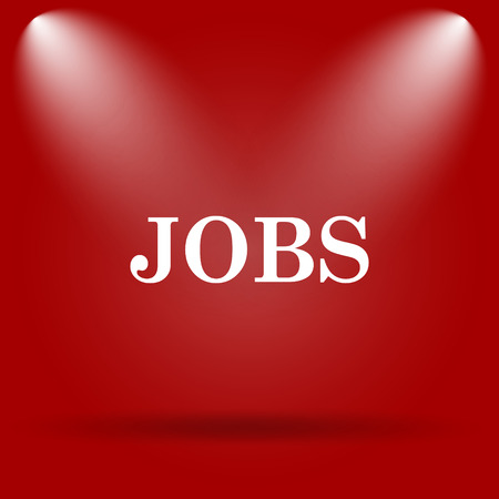 job offers: Jobs icon. Flat icon on red background.