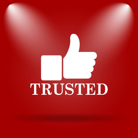 trusted: Trusted icon. Flat icon on red background.