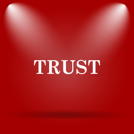 trust icon: Trust icon. Flat icon on red background.