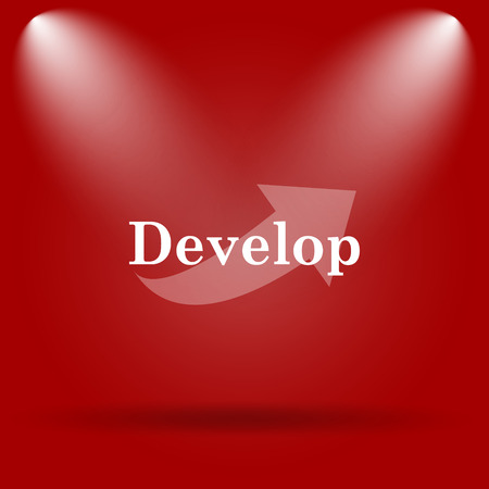 develop: Develop icon. Flat icon on red background.