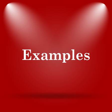 examples: Examples icon. Flat icon on red background. Stock Photo