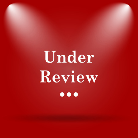 review icon: Under review icon. Flat icon on red background.