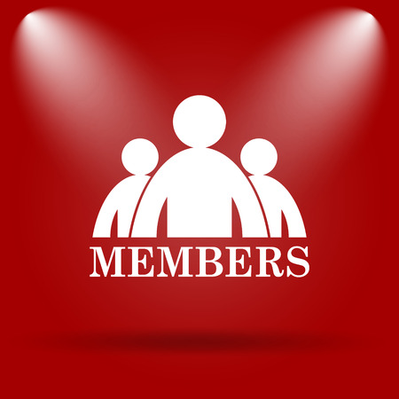 vip area: Members icon. Flat icon on red background.