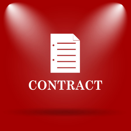 contraction: Contract icon. Flat icon on red background.