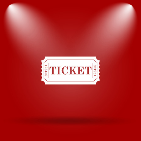 Cinema ticket icon. Flat icon on red background.
