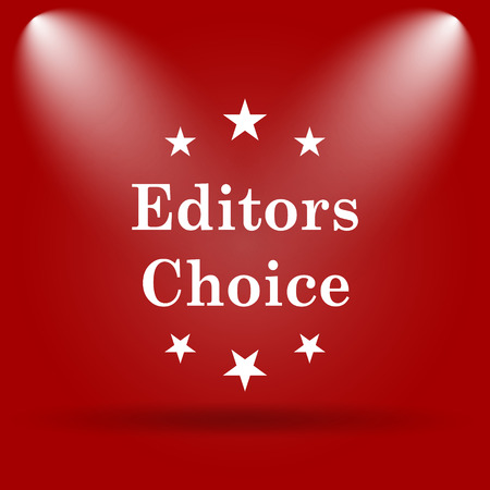 editors: Editors choice icon. Flat icon on red background. Stock Photo