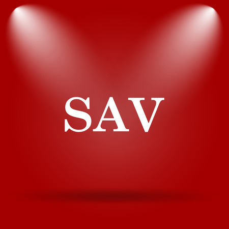 assessed: SAV icon. Flat icon on red background. Stock Photo