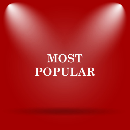 most popular: Most popular icon. Flat icon on red background. Stock Photo
