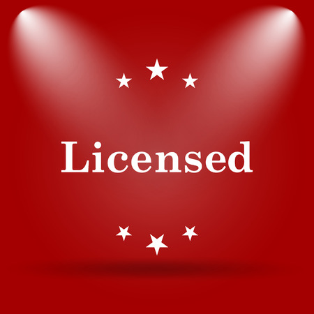 licensed: Licensed icon. Flat icon on red background.