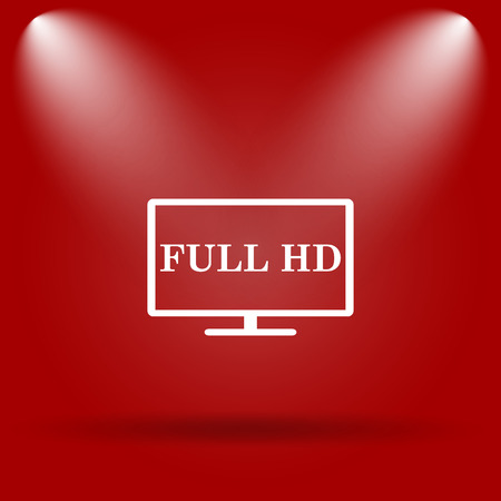 full hd: Full HD icon. Flat icon on red background.