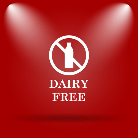 lactose intolerant: Dairy free icon. Flat icon on red background.