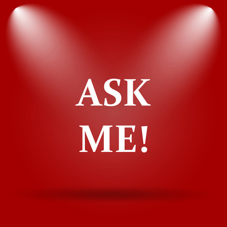 help me: Ask me icon. Flat icon on red background.