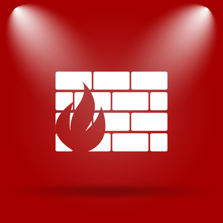 firewall icon: Firewall icon. Flat icon on red background. Stock Photo