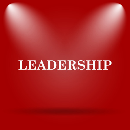 superintendence: Leadership icon. Flat icon on red background. Stock Photo