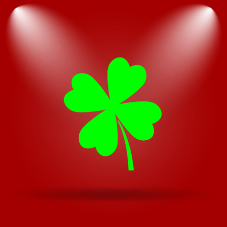 red clover: Clover icon. Flat icon on red background.