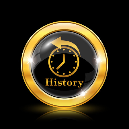 gold rush: History icon. Internet button on black background. EPS10 vector