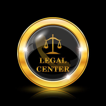 Legal center icon. Internet button on black background. EPS10 vector Vectores
