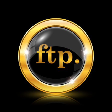 ftp: ftp. icon. Internet button on black background. EPS10 vector