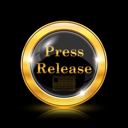 press release: Press release icon. Internet button on black background. EPS10 vector