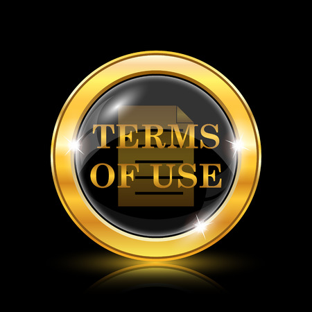 use regulations: Terms of use icon. Internet button on black background. EPS10 vector