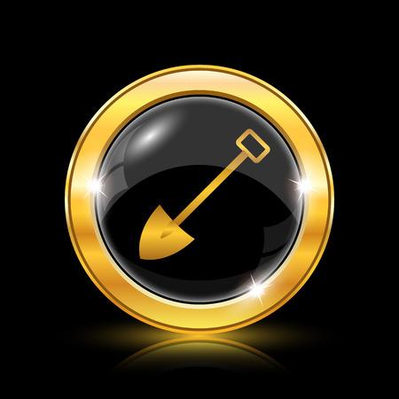 gold shovel: Shovel icon. Internet button on black background. EPS10 vector Illustration
