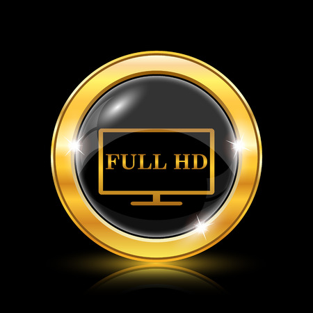 Full HD icon. Internet button on black background. EPS10 vector Vector