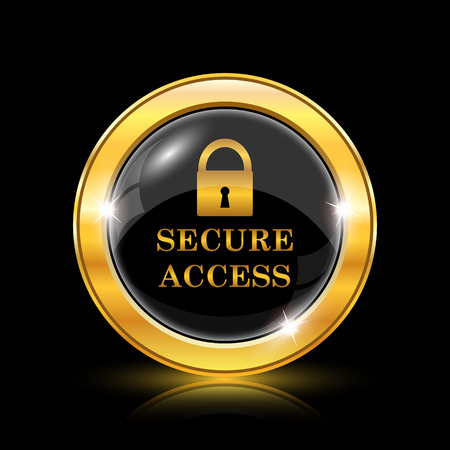 Secure access icon. Internet button on black background. EPS10 vector Vector