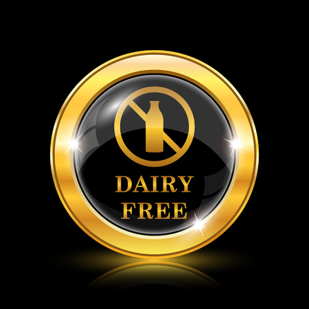 intolerant: Dairy free icon. Internet button on black background. EPS10 vector