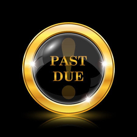 due: Past due icon. Internet button on black background. EPS10 vector Illustration