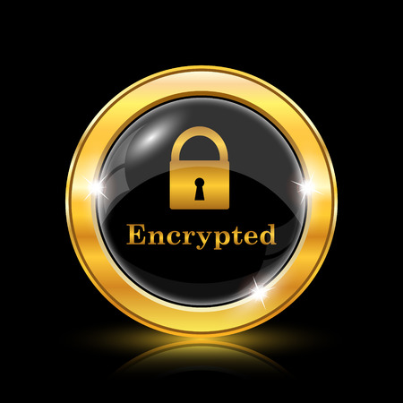 encrypted: Encrypted icon. Internet button on black background. EPS10 vector