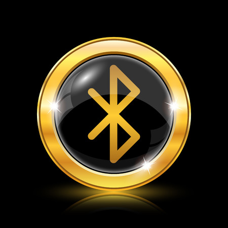 bluetooth: Bluetooth icon. Internet button on black background. EPS10 vector