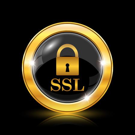 ssl: SSL icon. Internet button on black background. EPS10 vector