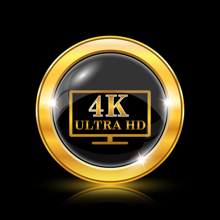 ultra: 4K ultra HD icon. Internet button on black background. EPS10 vector Illustration