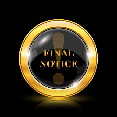 final: Final notice icon. Internet button on black background. EPS10 vector