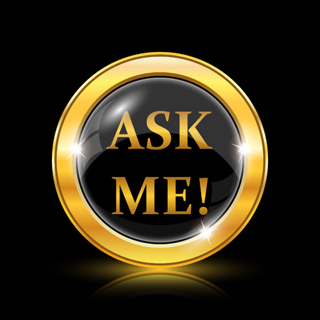 me: Ask me icon. Internet button on black background. EPS10 vector