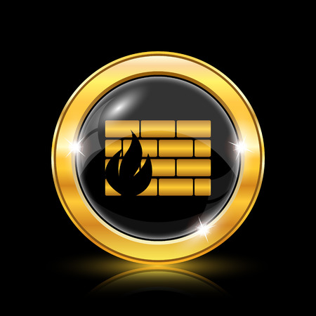 Firewall icon. Internet button on black background. EPS10 vector Vector