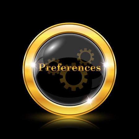 preferences: Preferences icon. Internet button on black background. EPS10 vector Illustration