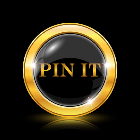 Pin it icon. Internet button on black background. EPS10 vector Vector