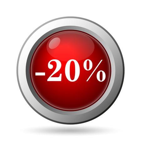 20 percent discount icon. Internet button on white background. photo