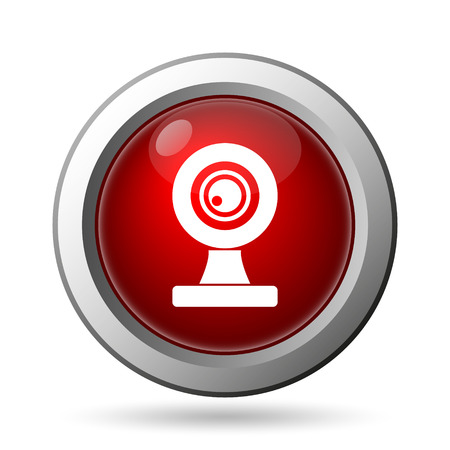 web cam: Webcam icon. Internet button on white background. Stock Photo
